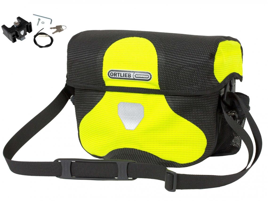 Ortlieb Stuurtas Ultimate Six High Visibility 7L Neongeel-Zwart reflex incl. Stuurhouder