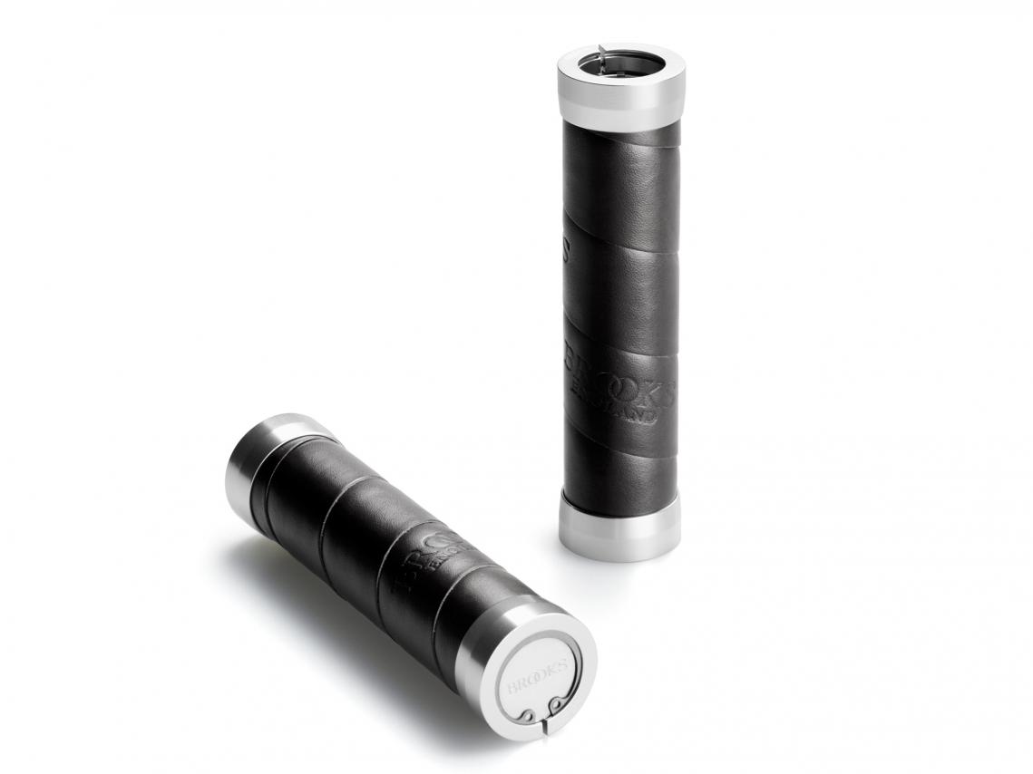 Brooks Slender Grips Leder Handvatten 130/130mm Zwart