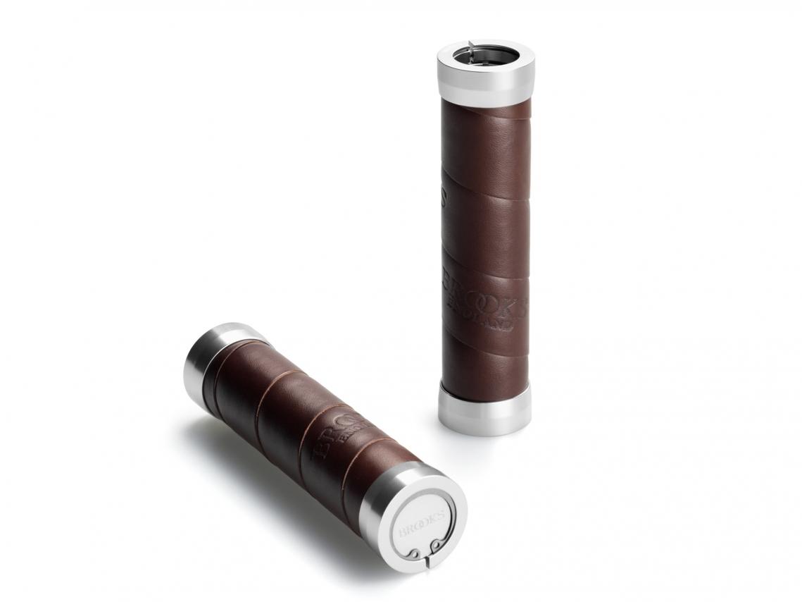 Brooks Slender Grips Leder Handvatten 130/130mm Bruin