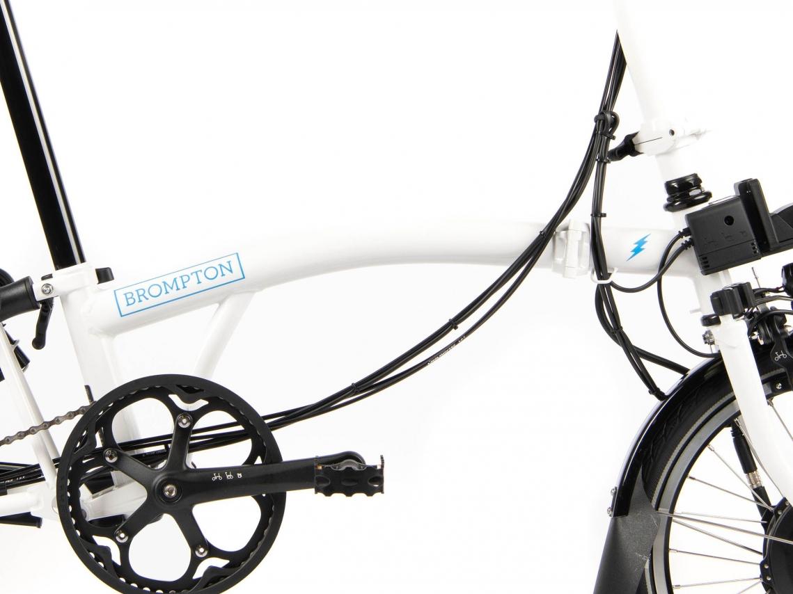 Brompton Electric Hoofd- en Voorframe inclusief BB Wit