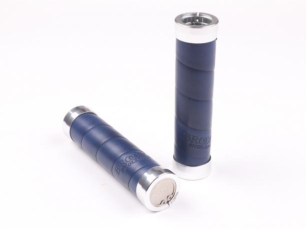 Brooks Slender Grips Leder Handvatten 130/130mm Blauw